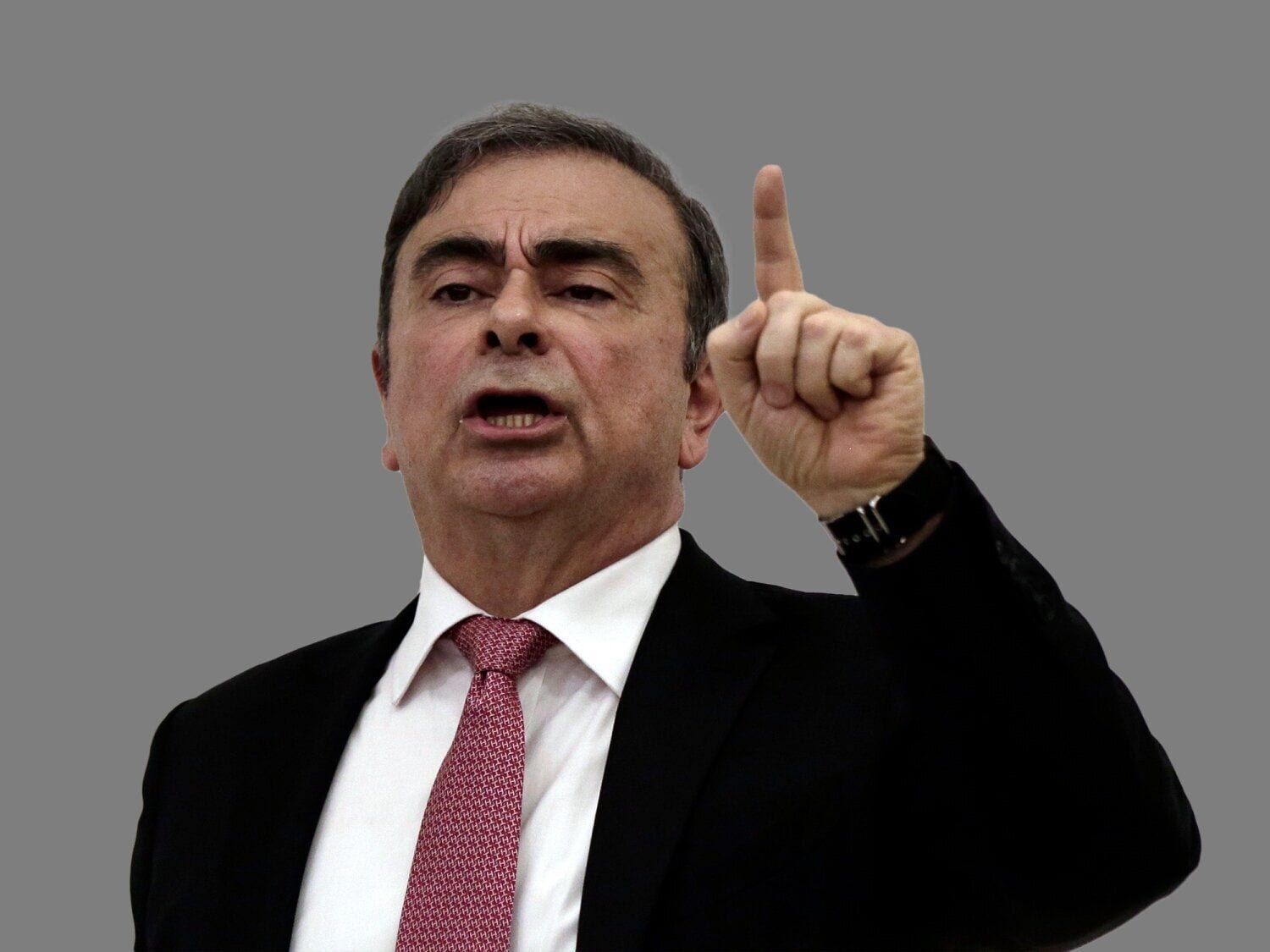 Carlos Ghosn headshot, former Nissan Motor Co. chairman, Beirut, Lebanon, graphic element on