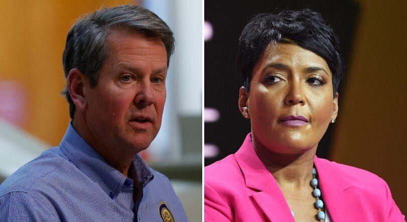 Le gouverneur de Géorgie Brian Kemp a porté plainte contre la maire d'Atlanta Keisha Lance...