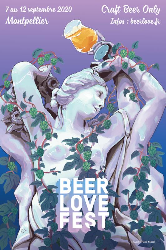 statue trois grâces avec houblon et bière