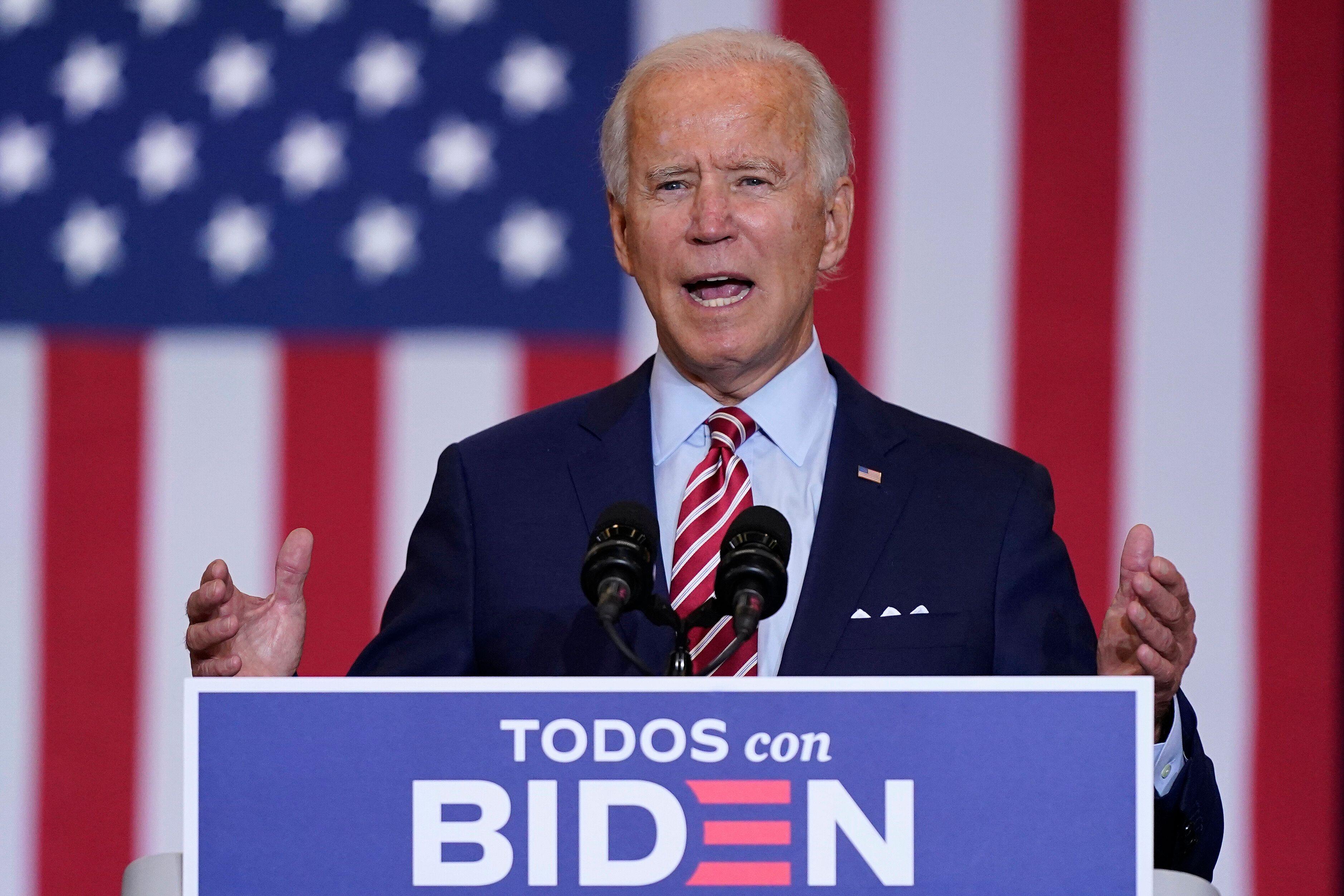 Le candidat démocrate Joe Biden, en meeting le 15 sepetmbre 2020 àOsceola Heritage...