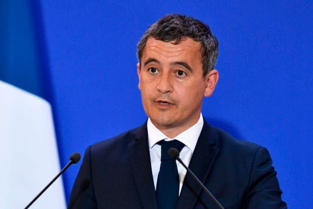 Gérald Darmanin lors d'une conférence de presse sur le terrorisme à la DGSI le 31...