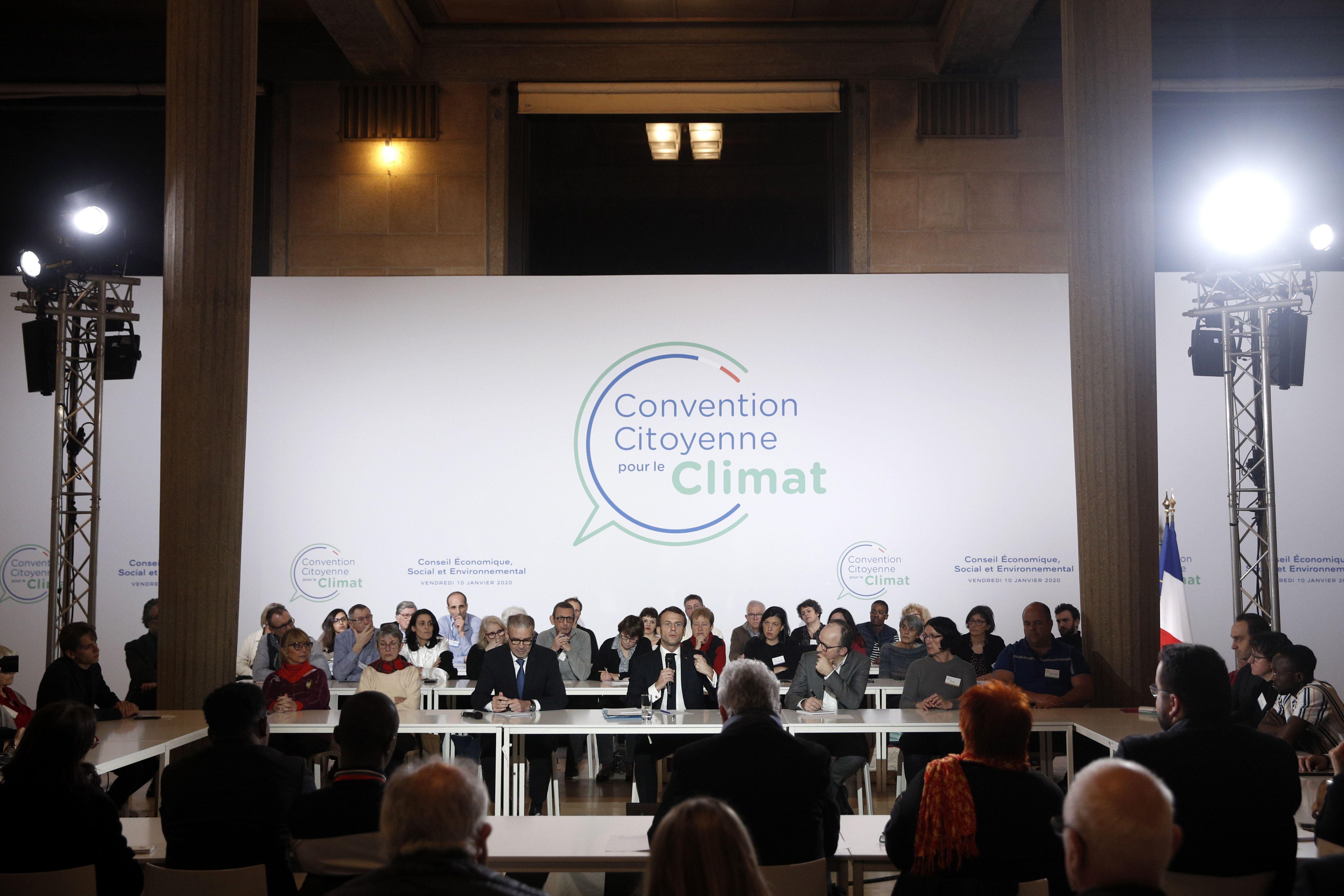 Emmanuel Macron à la Convention Citoyenne pour le Climat au Conseil Economique, Social et Environnemental...