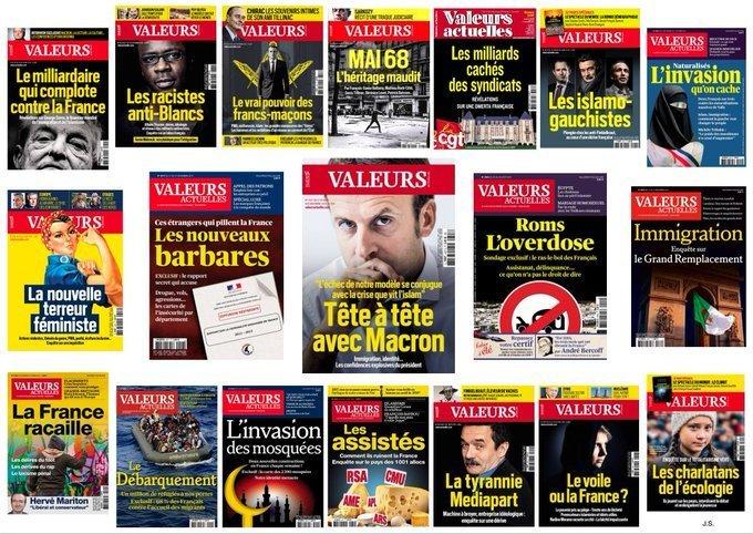 Interview d'Emmanuel Macron au journal d'extrême-droite Valeurs actuelles et quelques-unes de ses couvertures - D.R.