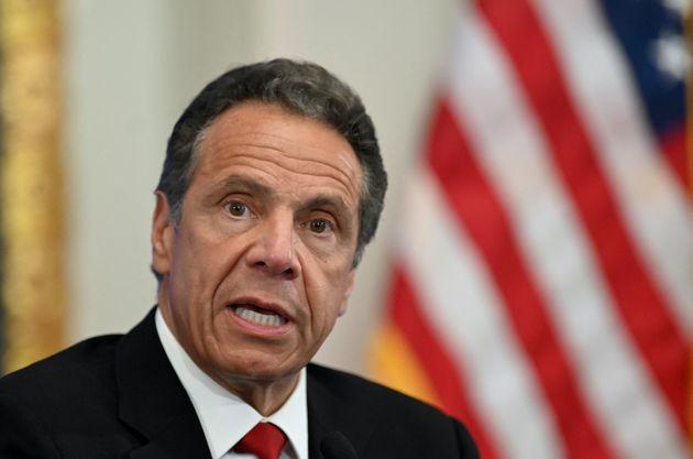Le gouverneur de New York Andrew Cuomo s'exprimait lors d'une conférence de presse à New...