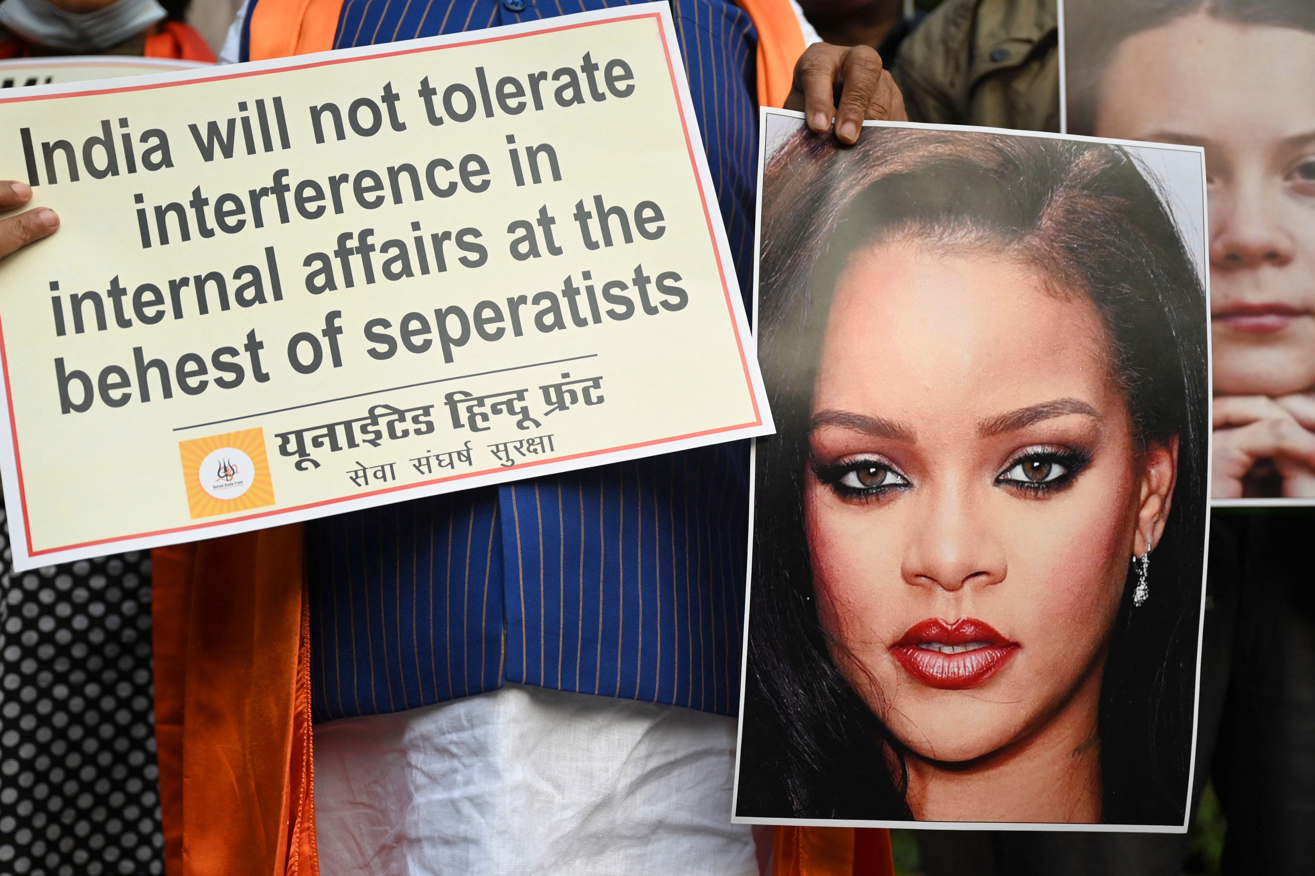 Des activistes manifestaient le premier 4 février 2021 àNew Delhi,en Inde,après...