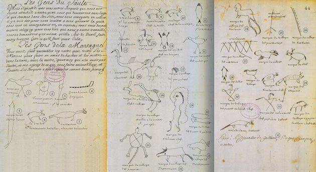 Extrait du traité de 1701 avec les pictogrammes des nations