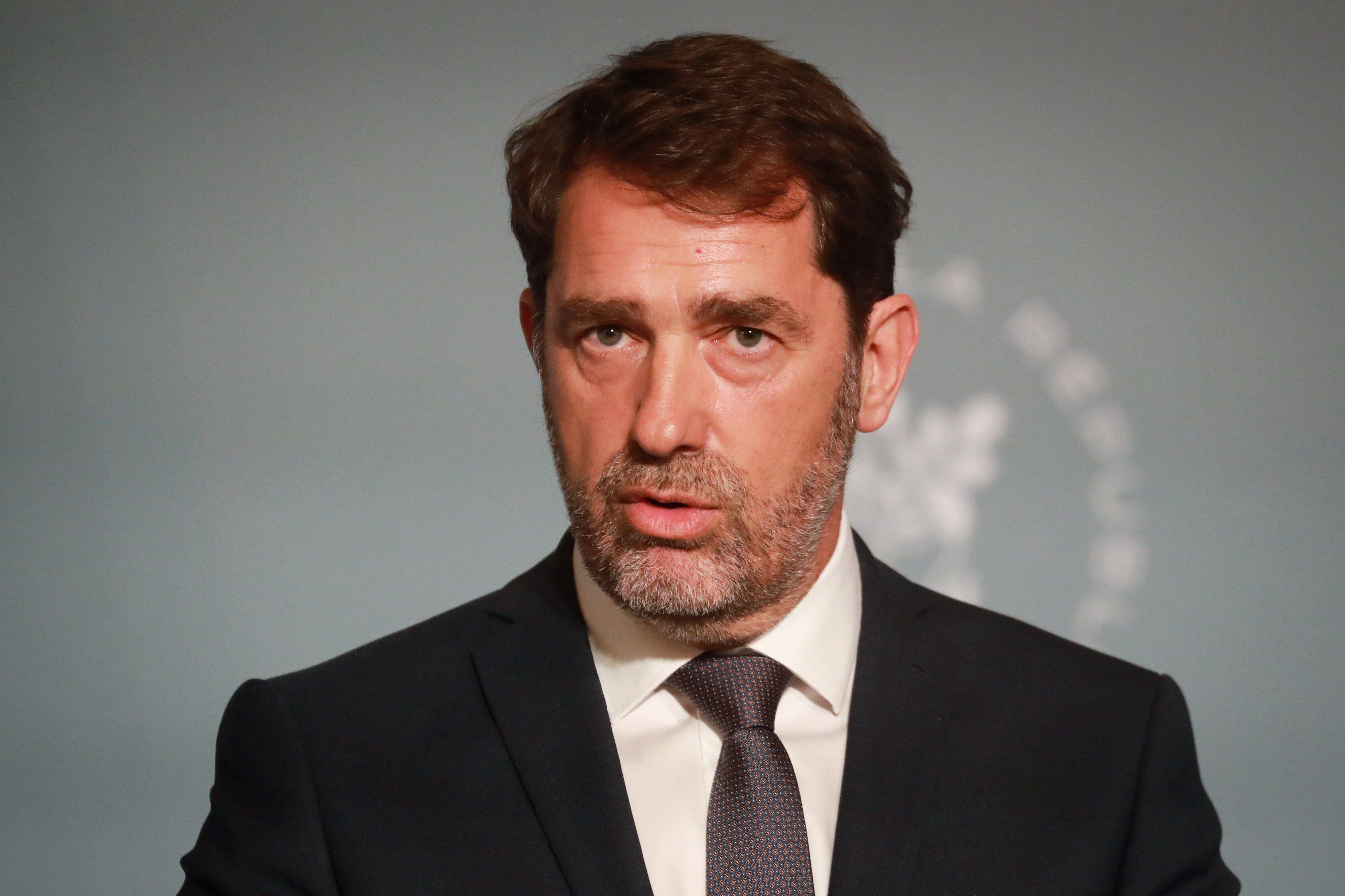 Christophe Castaner s'exprimant depuis le l'Élysée le 27 mai
