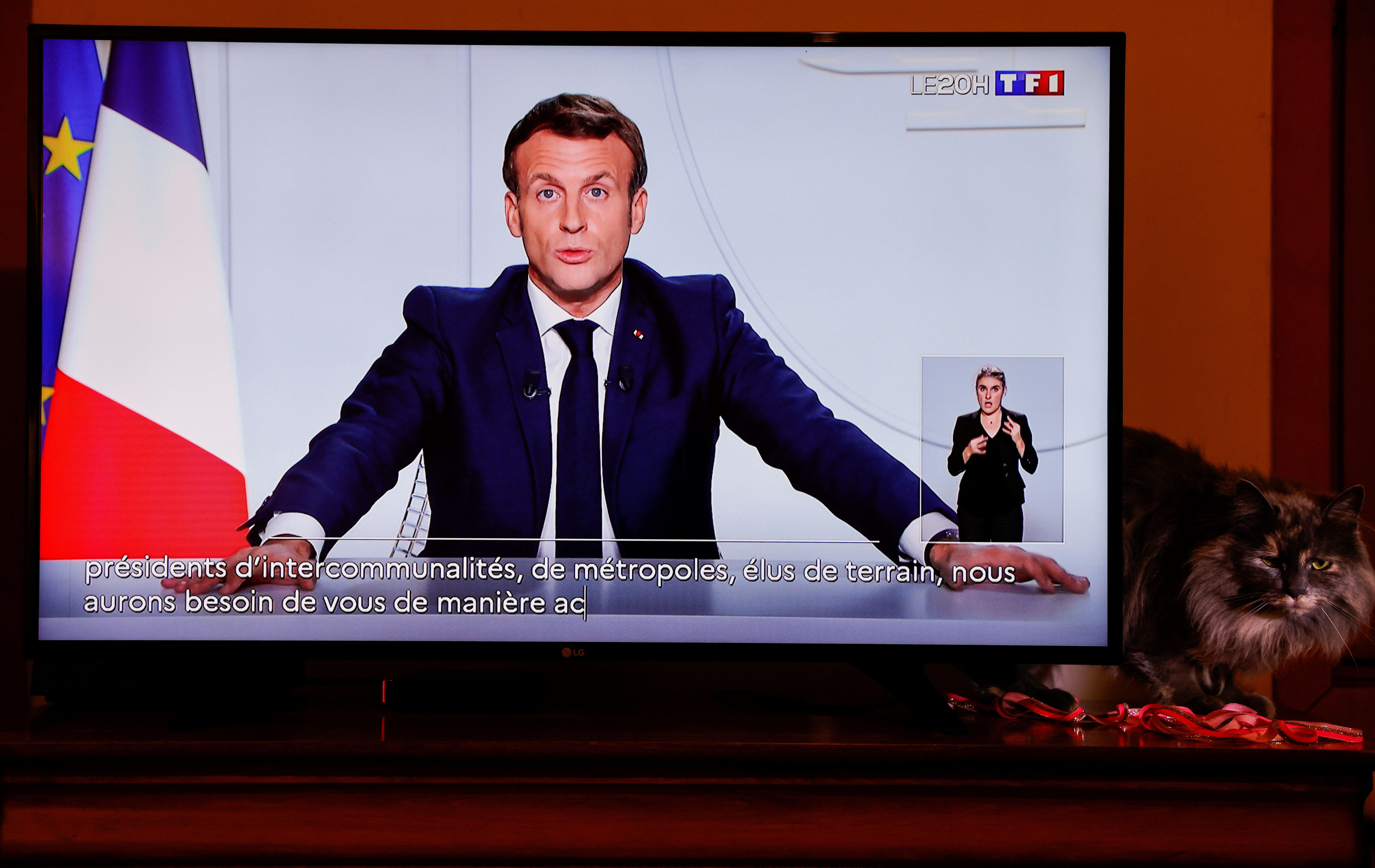 Emmanuel Macron lors d'une allocution télévisée le 29 octobre