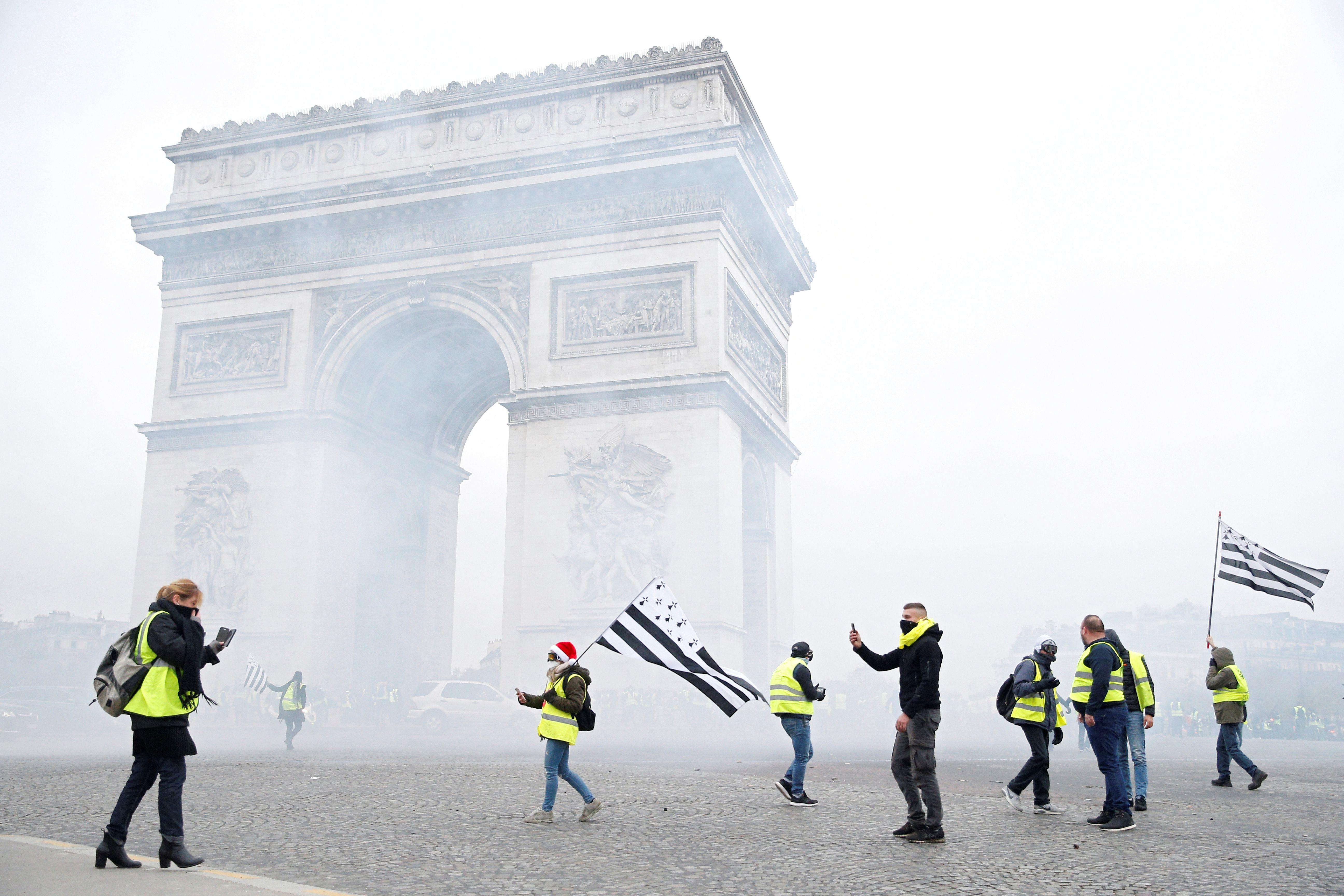 Le 1er décembre 2018, des gilets jaunes étaient entrés dans l'arc de Triomphe après une manifestation