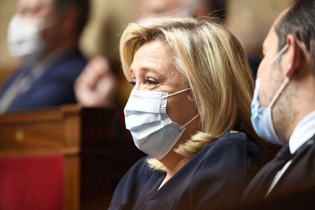 La Présidente du Rassemblement National (RN), Marine Le Pen, à l'Assemblée nationale...