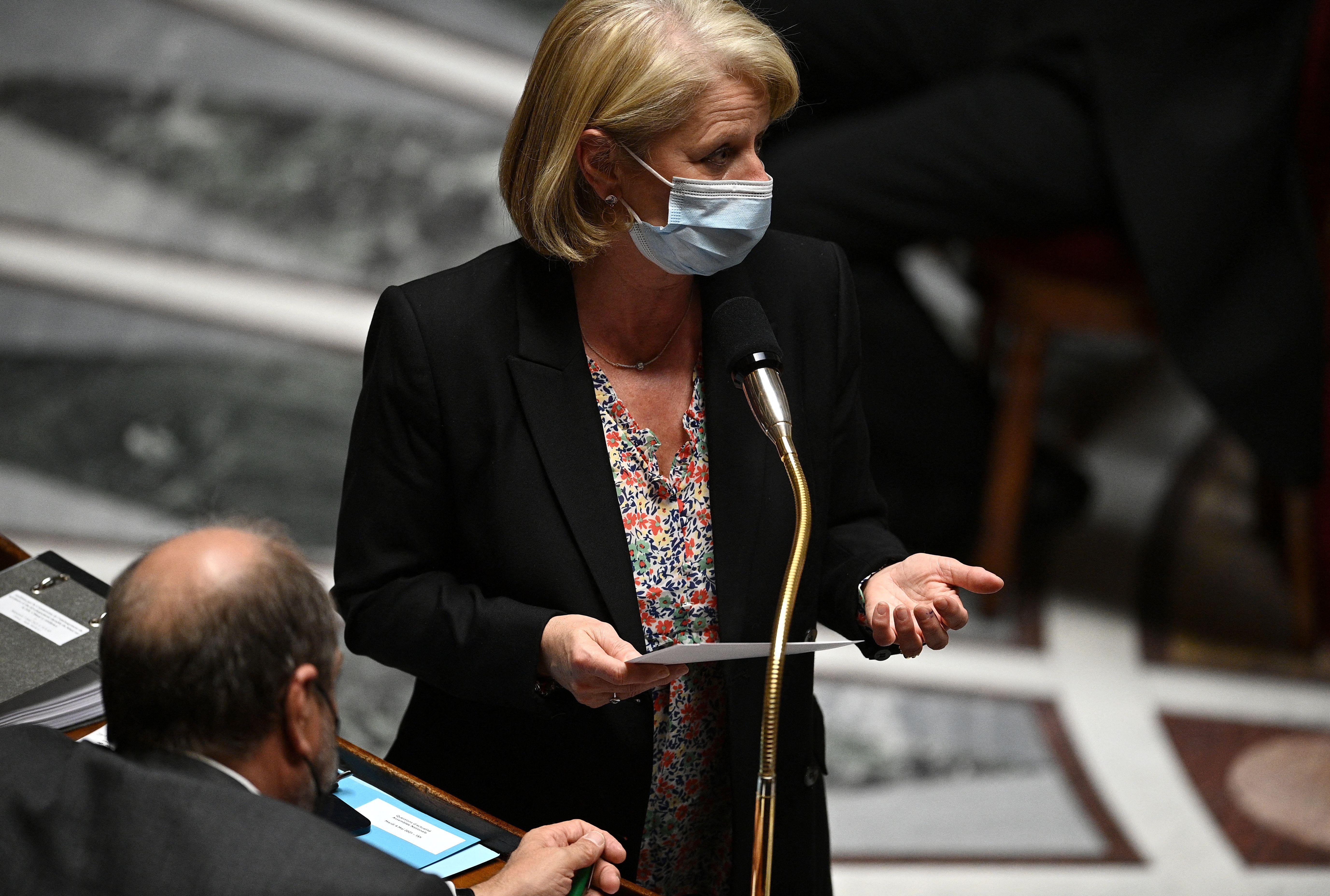 Brigitte Bourguignon, ici à l'Assemblée nationale à Paris, le 4 mai 2021.speaks...