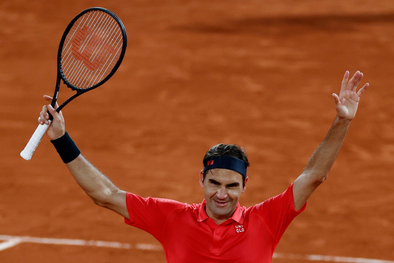 Roger Federer après sa victoire contre Dominik Koepfer, à Roland Garros, le 5 juin 2021,...