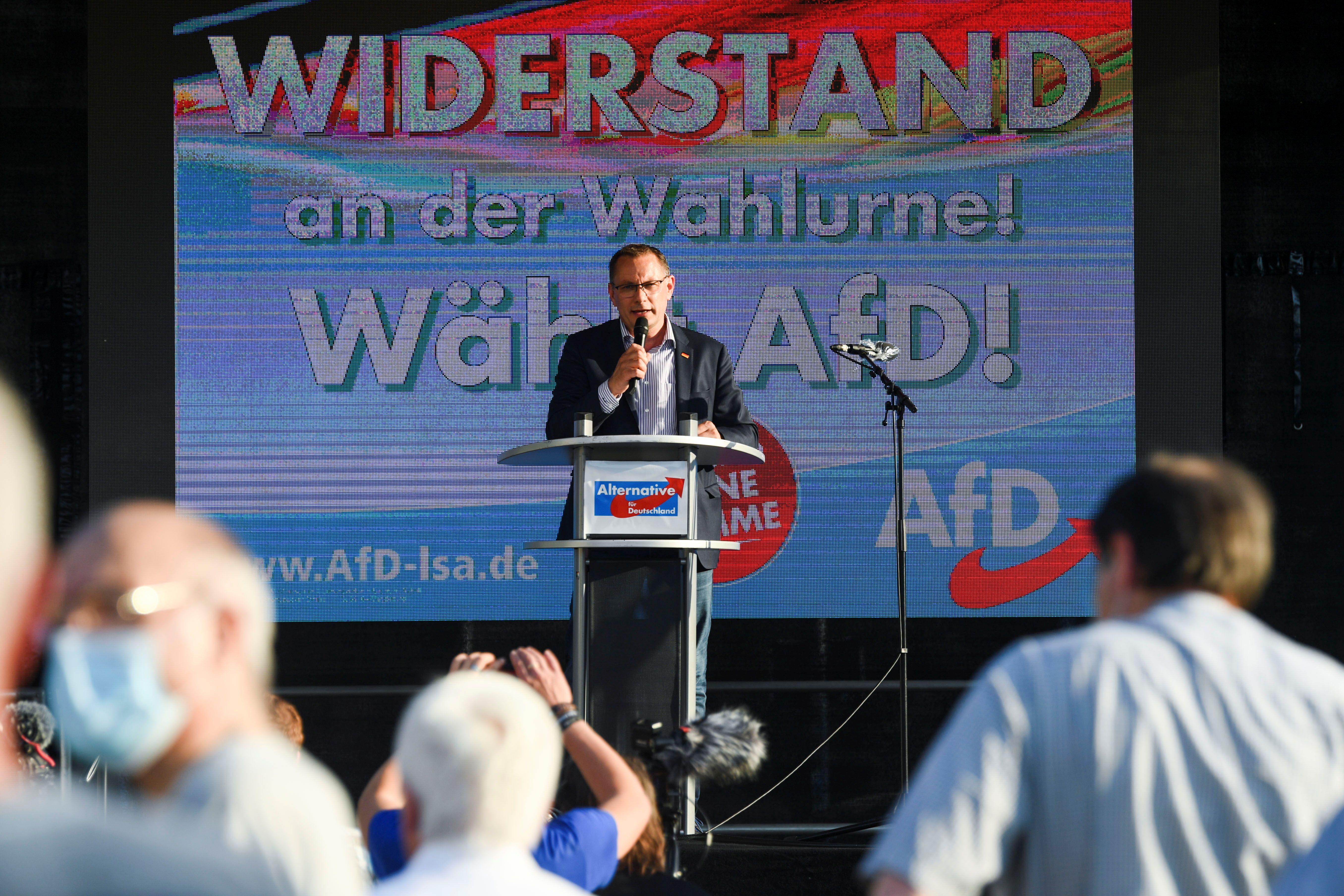 Un meeting de l'Afd, à Magdeburg, le 4 juin