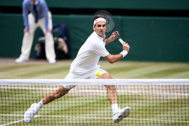 Roger Federer en finale de Wimbledon face à Novak Djokovic le 14 juillet 2019 à