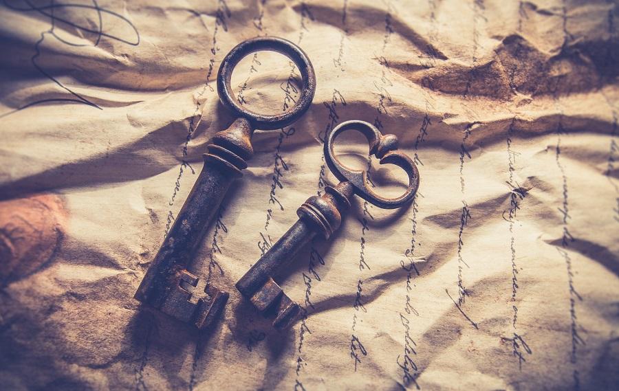 clés anciennes sur manuscrit