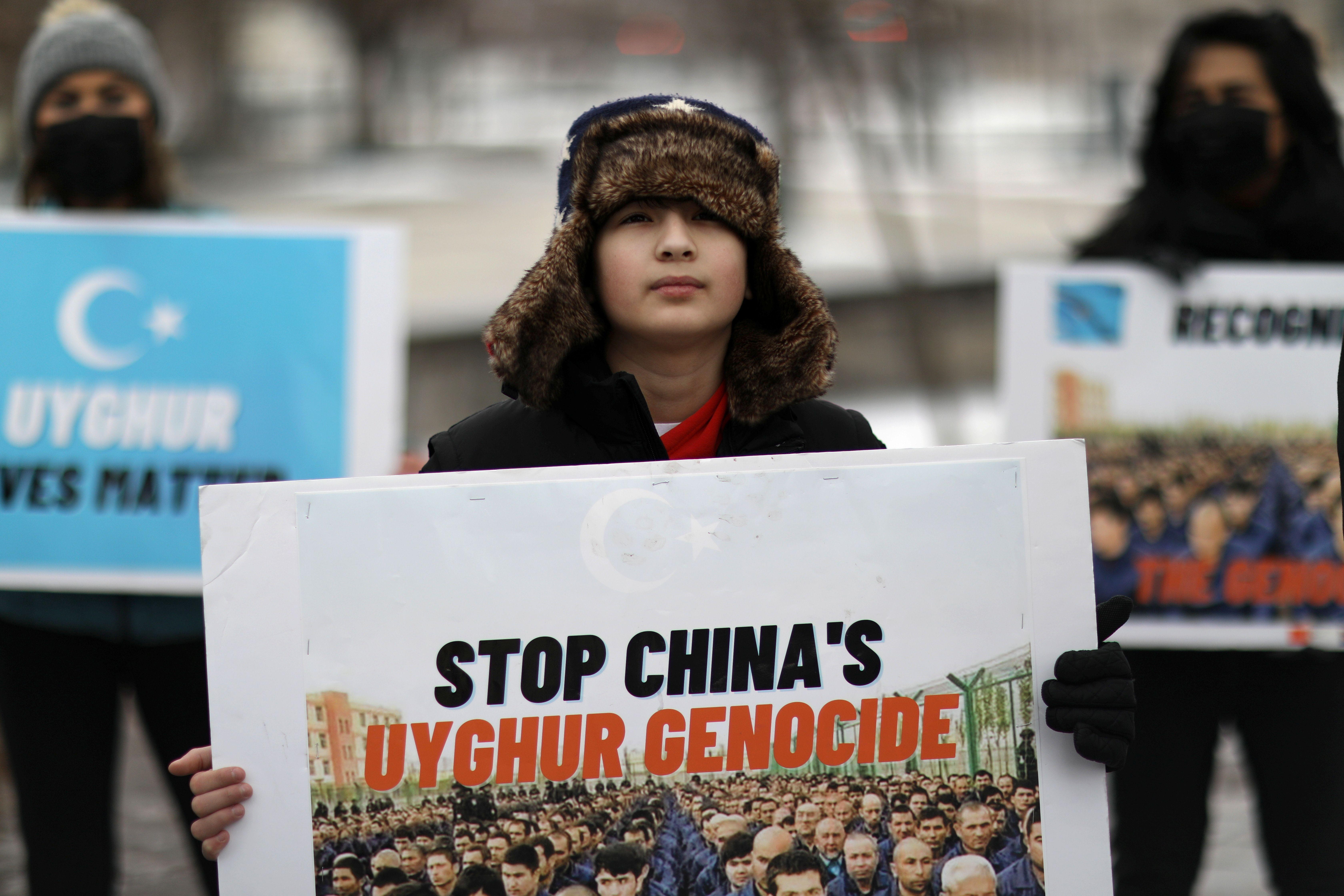 Photo prise lors d'une manifestation de soutien au Ouighours devant l'ambassade canadienne à Washington...