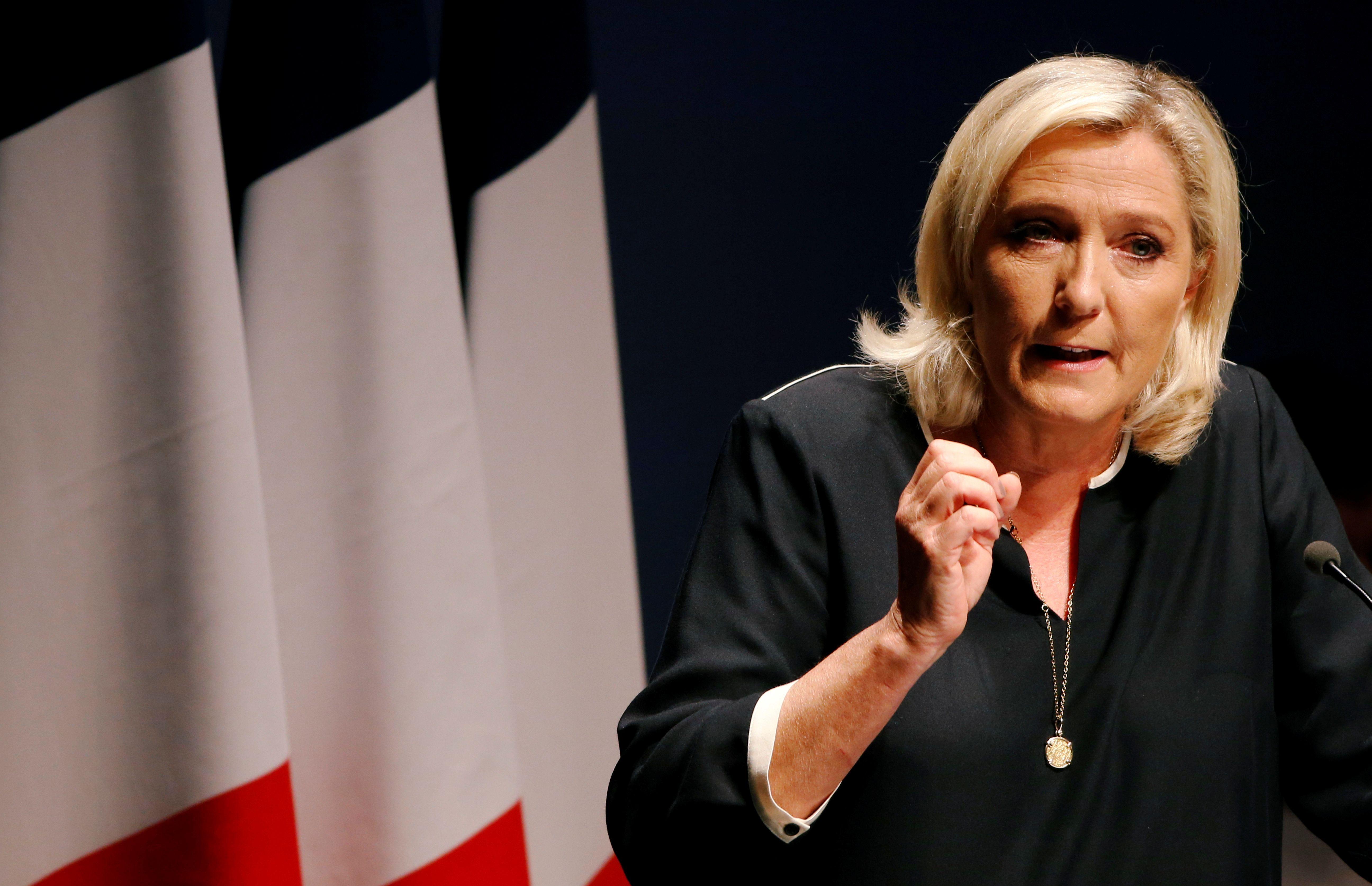 Marine Le Pen photographiée lors de son meeting de rentrée à Fréjus en septembre 2019