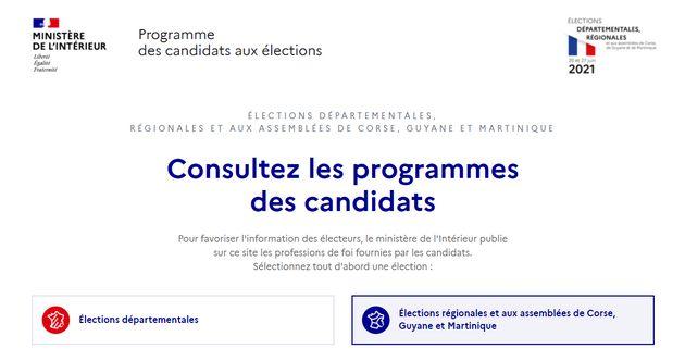 Vous pouvez consulter les programmes des candidats en ligne sur le site du ministère de