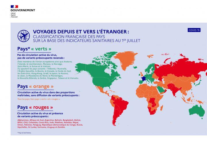 La carte des pays où l'on peut voyager depuis la France.