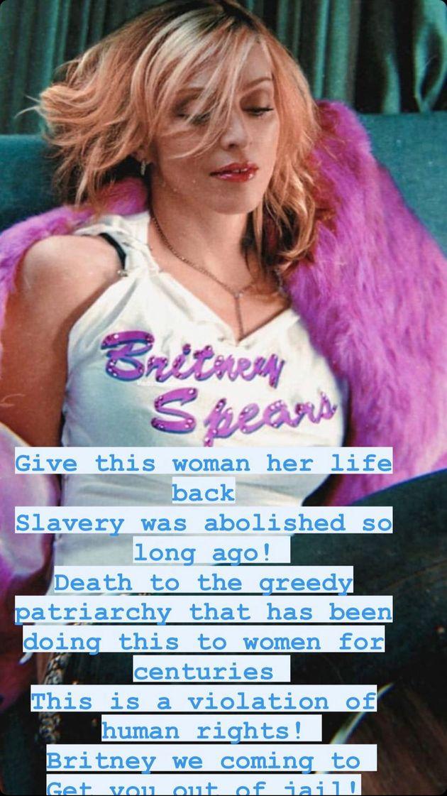 La chanteuse Madonna a tenu à adresser un message à Britney Spears après son témoignage devant le