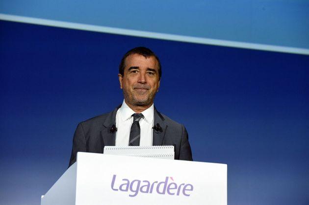 Photo d'archive d'Arnaud Lagardère, en mai 2019 à Paris. (Photo by ERIC PIERMONT /