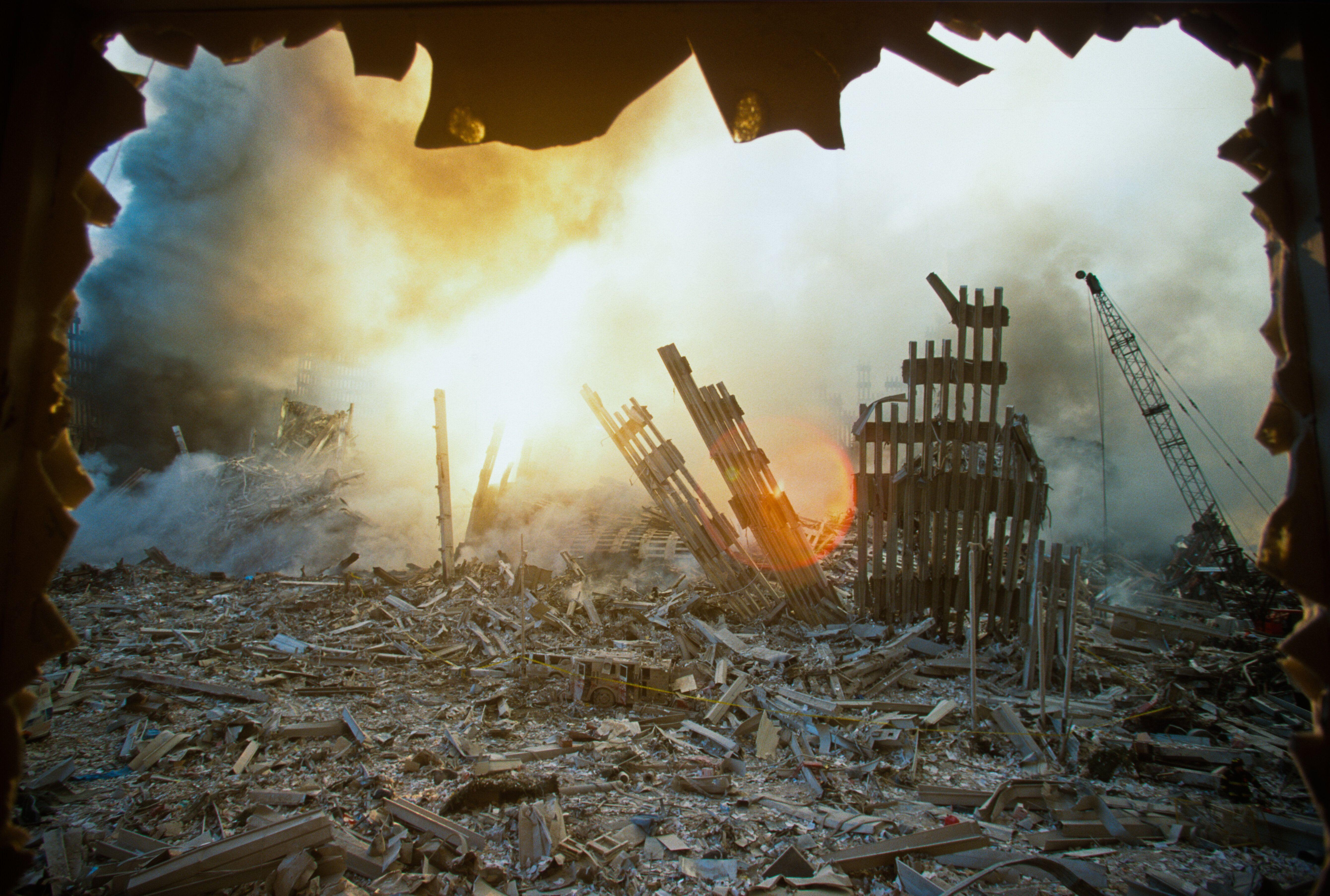 Les restes du World Trade Center après l'attaque terroriste qui a frappé New York le 11...
