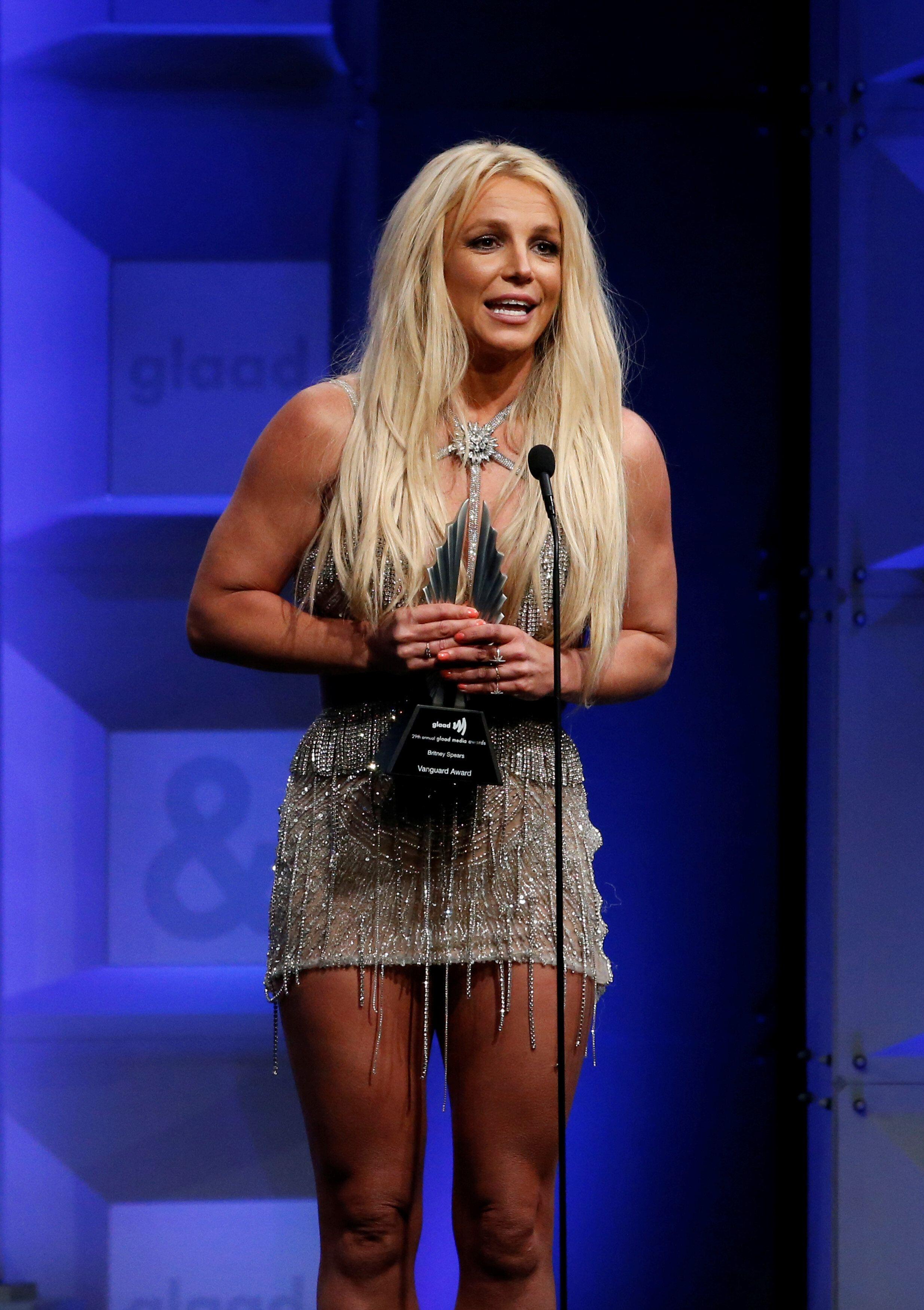 Britney Spears, ici lors du GLAAD Media Awards à Beverly Hills aux États-Unis, le 12 avril