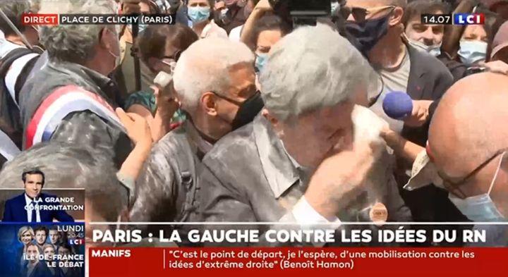 En juin dernier, Jean-Luc Mélenchon avait été enfariné à la marche...