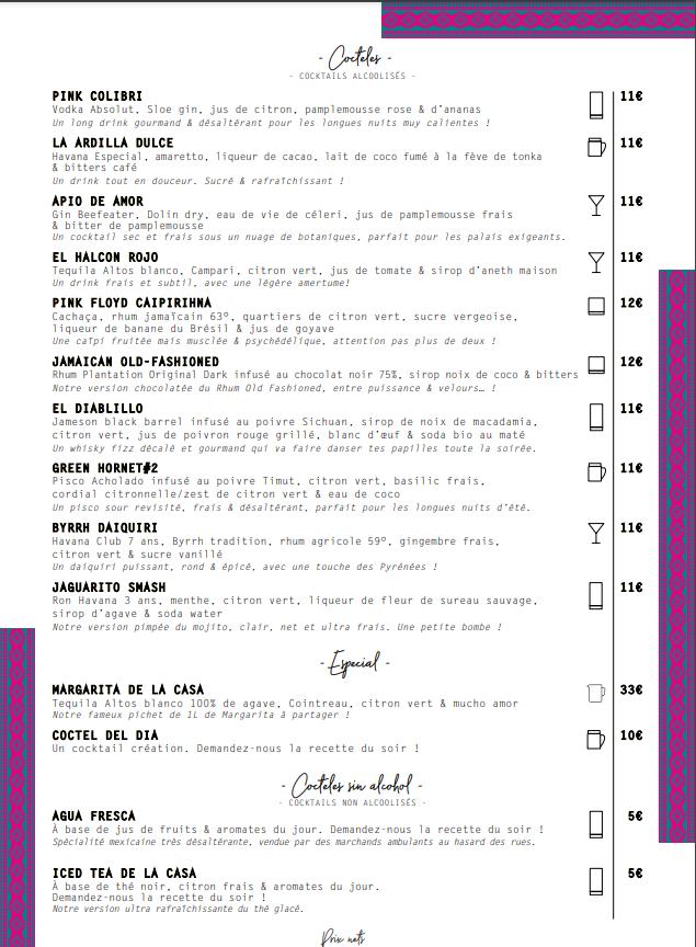 carte des cocktails casa picaflor