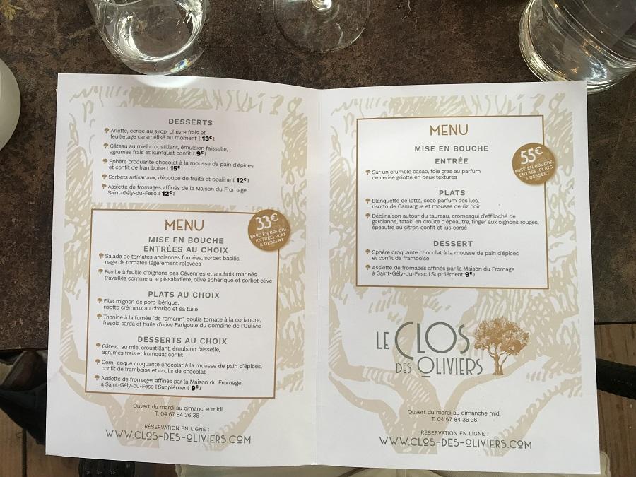 carte clos de l'olivier menu