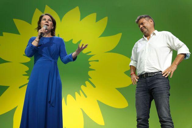 Annalena Baerbock et Robert Habeck, leaders des écologistes allemands, à Berlin le 26 septembre