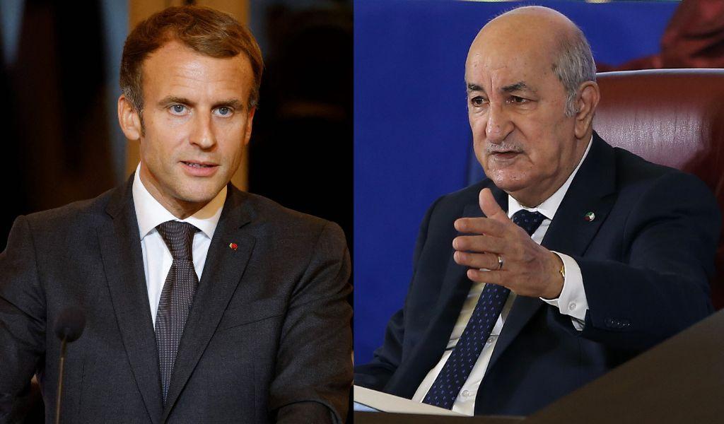 Montage photo du président français Emmanuel Macron et de son homologue algérien Abdelmadjid