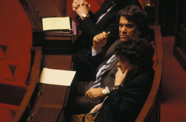 Bernard Tapie, ex-ministre de la Ville, à l'Assemblee Nationale lors du débat sur la ville...
