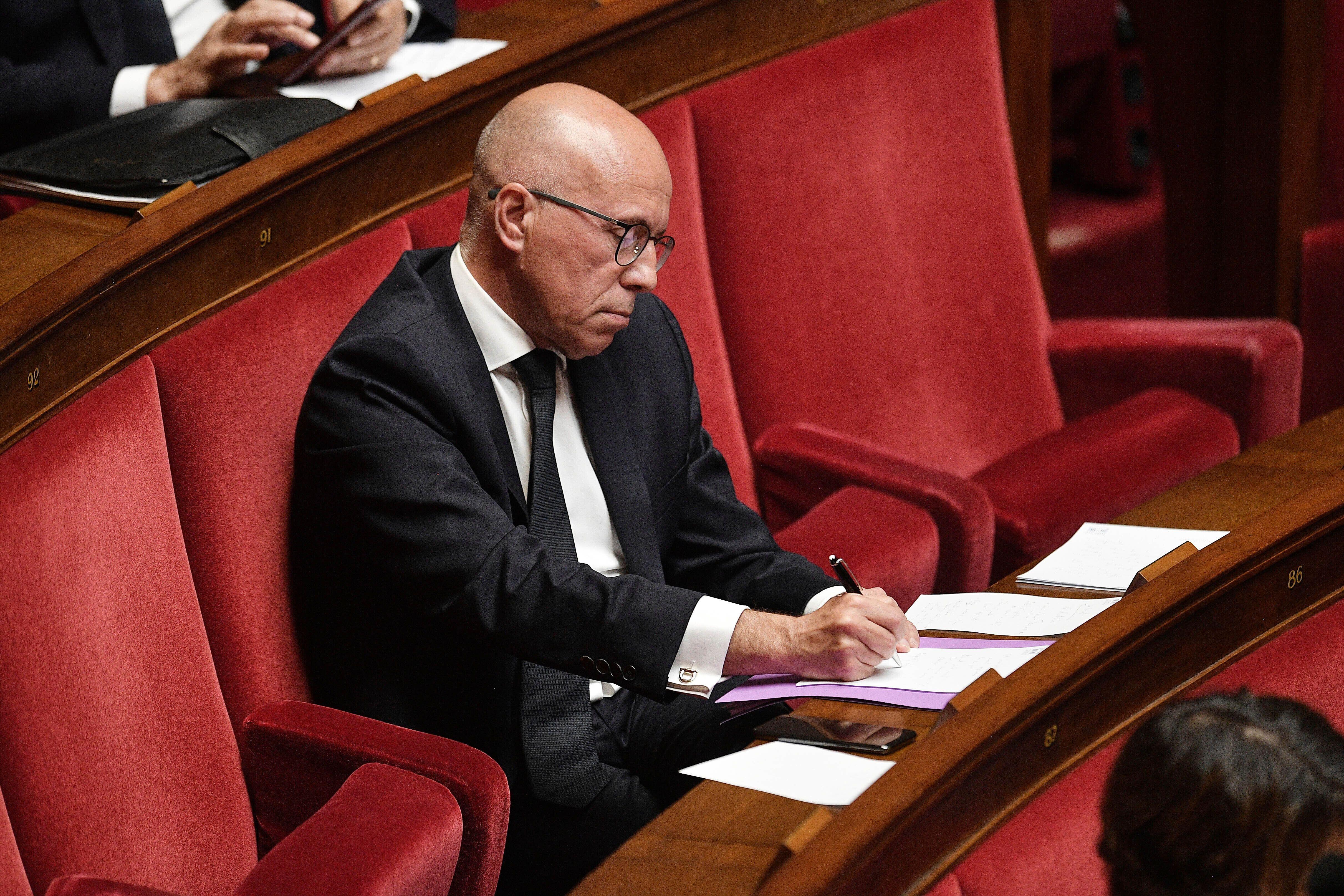 Éric Ciotti photographié à l'Assemblée nationale en avril 2020