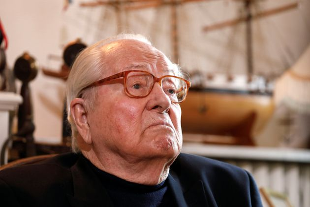 Jean-Marie Le Pen, founder of France's far-right National Front political party, reacts during an interview...